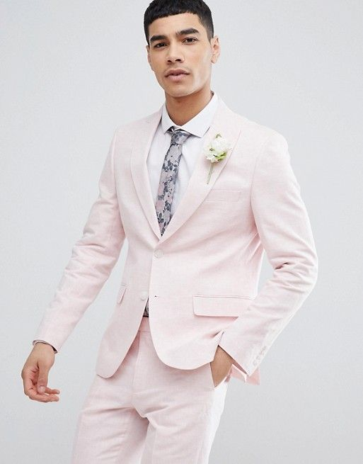 3018c75736f9 Moss London Wedding Skinny Suit Jacket In Light Pink Linen | A wedding.. |  Wedding suits, Pink suit men, Skinny suits