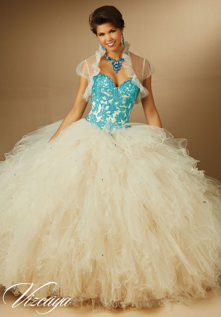 89053 Contrasting Beaded Lace Appliques on Ruffled Tulle Quinceanera Dress