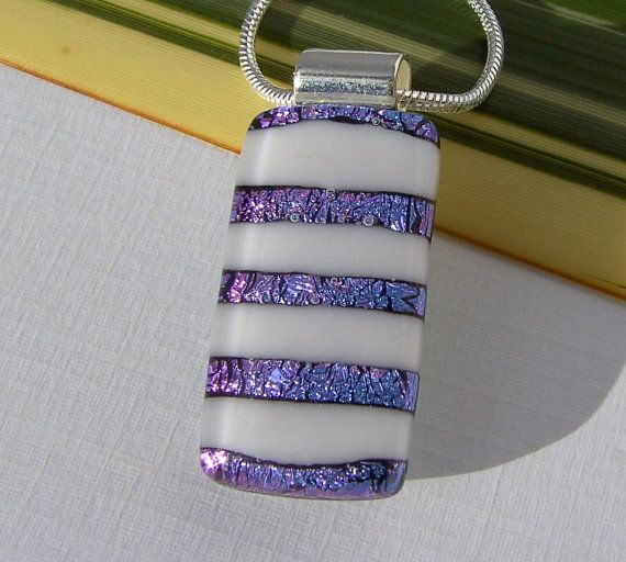 Fused Glass Pendant  Dichroic Jewelry  White and by TremoughGlass, $26.00