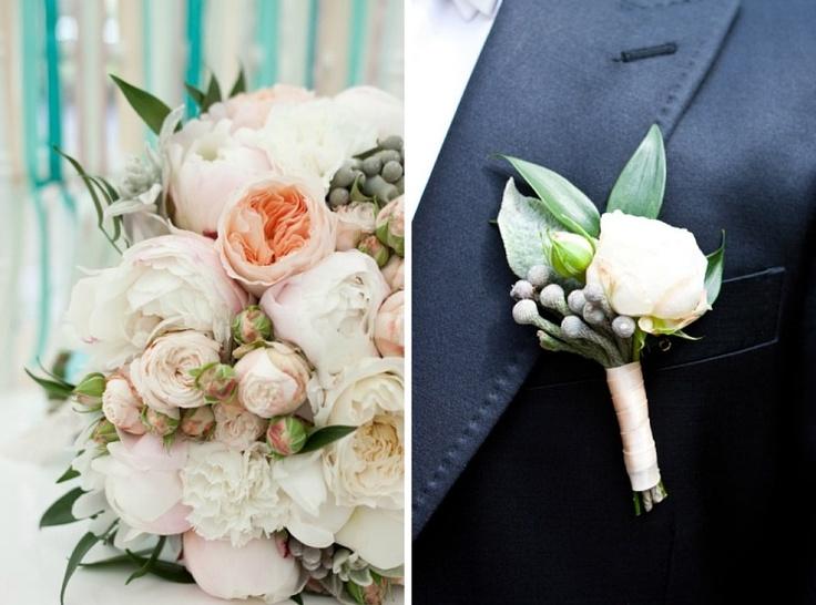 flowerslovers - букет невесты маши и бутоньерка жениха димы