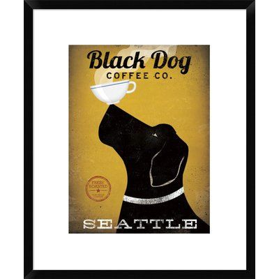 """East Urban Home 'Black Dog Coffee Co Seattle' Vintage Advertisement Format: Tribeca Black Framed, Matte Color: Bright White, Size: 23.5"""" H x 19.5"""" W"""
