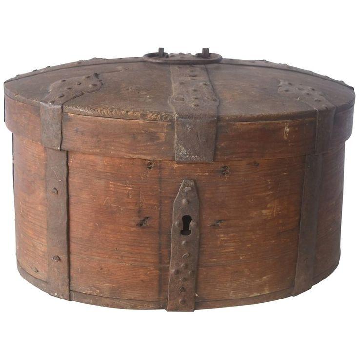 Decorative Recipe Box 2: 1stdibs Wood Wooden Food Iron Straps Handle Swedish