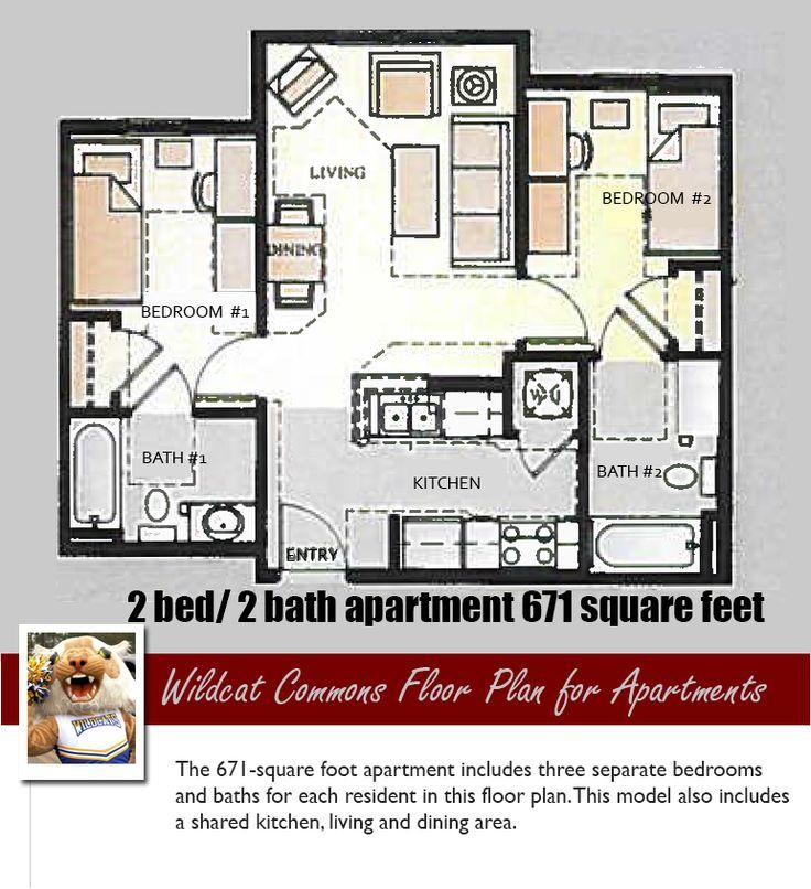 FVSU Residential Life Floor Plan for two bedroom apartment