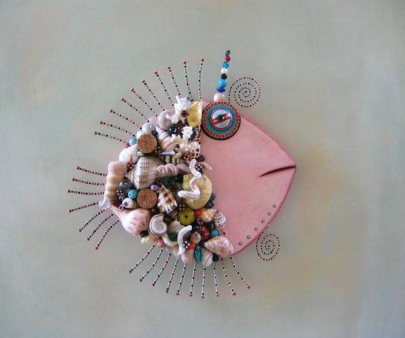Shell Fish Original Found Object Wall Art by Fig by FigJamStudio, $149.00