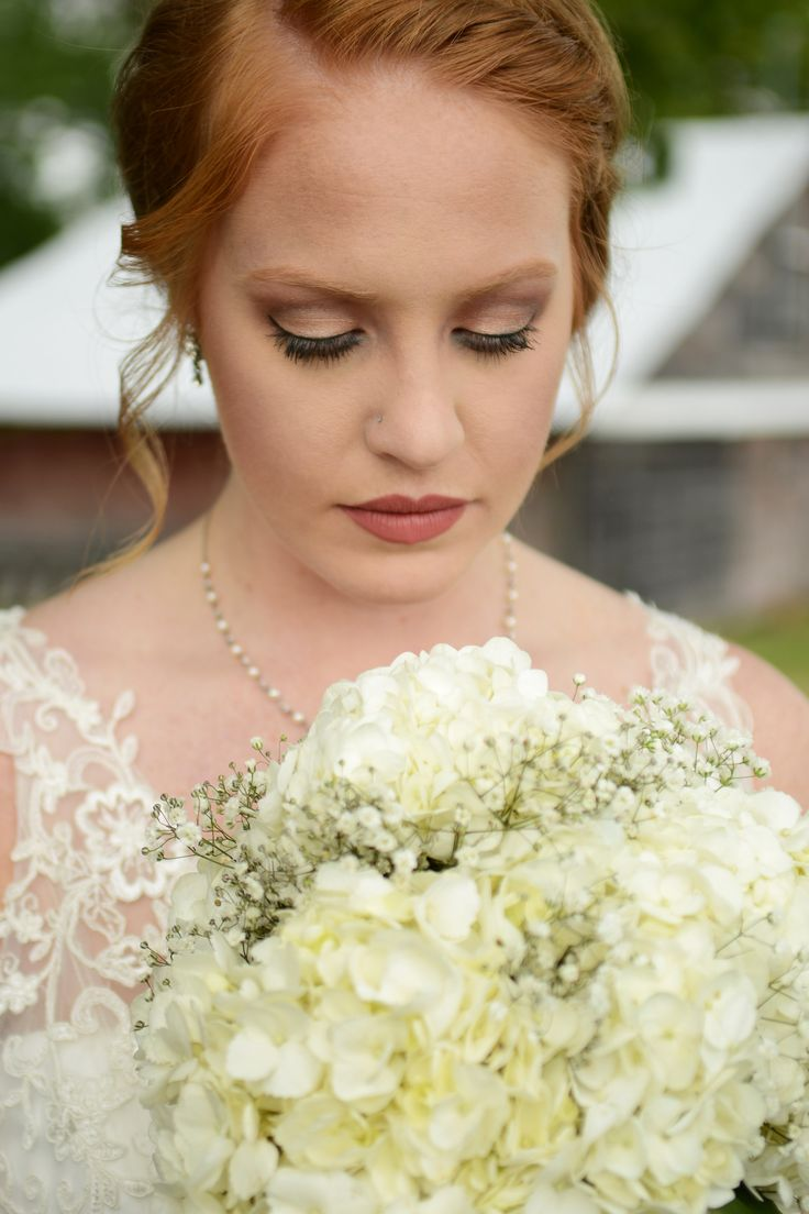 Wedding makeup for redheads. Hydrangea and baby's breath bouquet. This is the beautiful work I did on my dear friend for her wedding!
