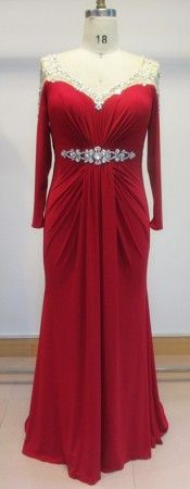 Red plus size evening dresses by Darius Cordell Fashion Ltd can be created for you in any measurements you need.  This long sleeve formal dress is gatherd into the center for a more flattering fit.  There is a beaded illusion neckline for sparkle. This floor length evening gown can be made with any changes.  We have many other long sleeve #eveningdresses for you to consider.  To see other plus size evening gowns please go to www.dariuscordell.com