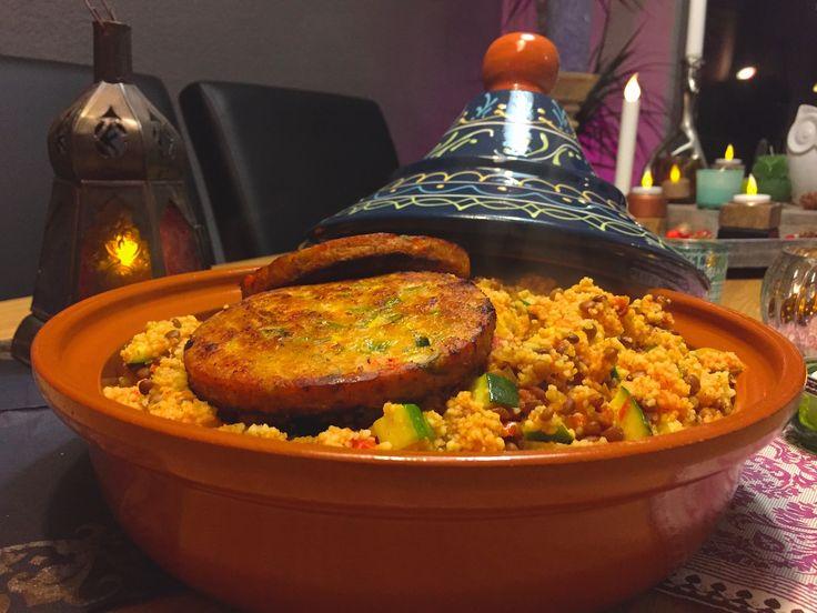Nieuw recept: Couscous met linzen en groenteburger - http://wessalicious.com/couscous-met-linzen-en-groenteburger/