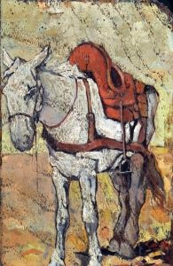 Study of a Horse - Giovanni Fattori - Date unknown Dimensions:Unknown Medium:Painting - oil on panel