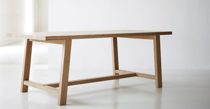 Weaver's Table £1833 w220 d90 h75cm designed by Terence Conran An oak table with exposed dovetailed joints, angled legs and a matt oiled finish. Seats 8.