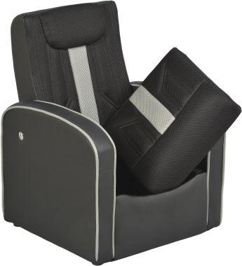 LEO fauteuil relax pour enfant avec coffre de rangement sous l'assise. Revêtement en tissu mesh gris et similicuir noir. Le dossier s'incline en relaxation pour que votre enfant se détende, il se repli aussi sur l'assise pour que le fauteuil prenne moins de place et puisse être rangé sous une table par exemple. Ce fauteuil est donc idéal pour les petits espaces