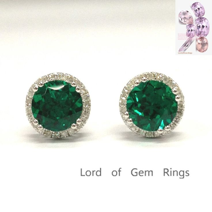 $499 Round Green Emerald Earrings Diamond Halo 14K White Gold 7mm Stud