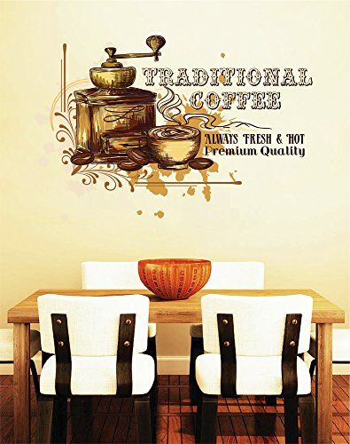 Cik1040 Full Color Wall Decal Traditional Coffee Grinder Cup Restaurant Showcase Window *** You can find more details by visiting the image link.