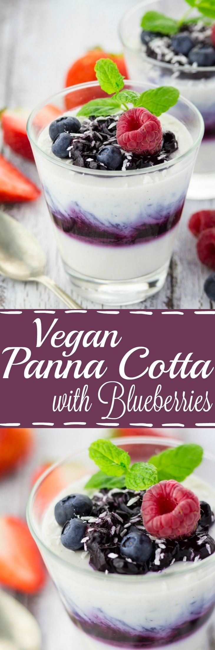 This vegan blueberry coconut panna cotta is just as amazing as the original - if not even better! The secret ingredient is agar instead of gelatin.