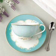 Tea Cup Set CUP/SAUCER/SPOON Coffee Royal Princess Blue New Bone China Porcelain