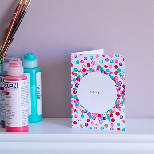 """Mr. Handsomeface Blog » DIY: Confetti Card -- mask off a circle and """"stamp"""" with pencil erasers dipped in paint"""