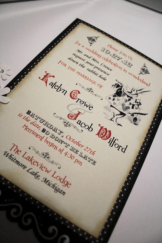 funny wedding invitation mail%0A Alice in Wonderland Wedding Invitation  Vintage in Appearance