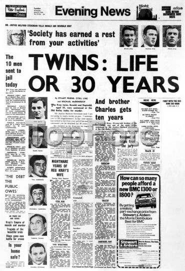 "The Krays - ""Twins : Life or 30 Years - And brother Charles gets ten years"" Evening News - Wednesday 5th March 1969."