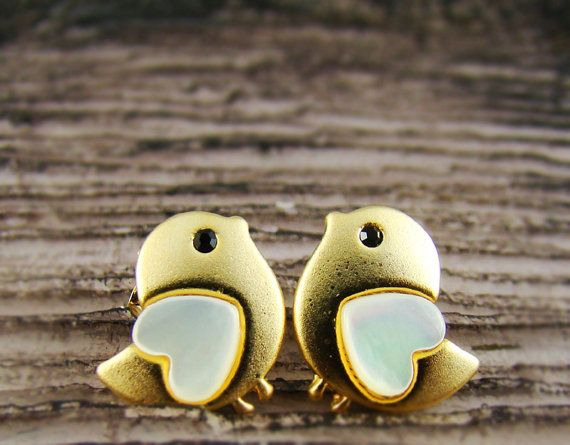 Chick Earrings Womens Animal Lovely Heart Bird Stud Earrings Mother-of-Pearl Heart Gold Plated Nickel Free on Etsy, $11.00