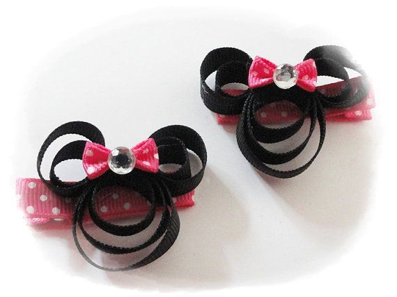 Disney Minnie Mouse hair clip set HANDMADE Your by RikapandaCrafts