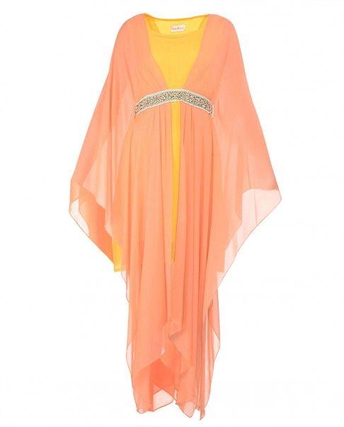 Peach and Poppy Yellow Drape Dress