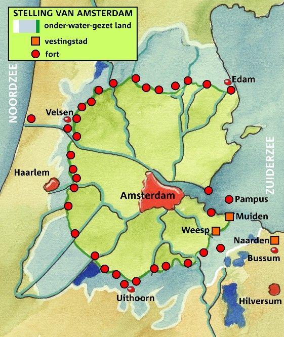 In Noord-Holland en Utrecht kom je forten tegen van de Stelling van Amsterdam. Deze cirkelvormige verdedigingslinie werd gebouwd rond 1900 om Amsterdam te beschermen. Nu kun je veel van deze forten bezoeken. stelling van amsterdam forten - Google zoeken