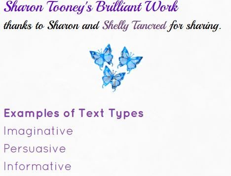 Sharon Tooney's work on imaginative, persuasive and informative types of text http://cnpslearning.weebly.com/sharon-tooneys-work.html