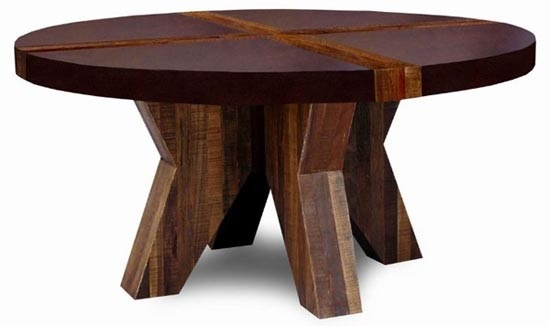 rustic collection dining table round design 2 shown with dark
