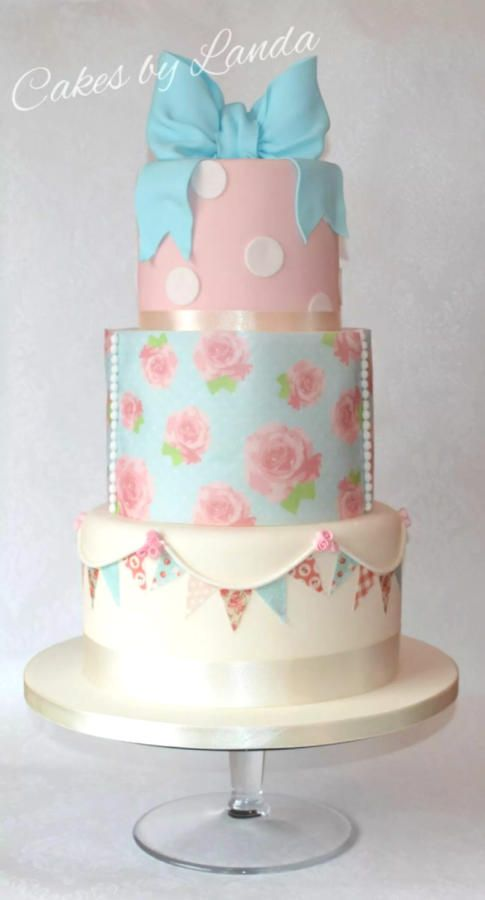 Vintage Cath Kidston inspired wedding cake - Cake by Landa