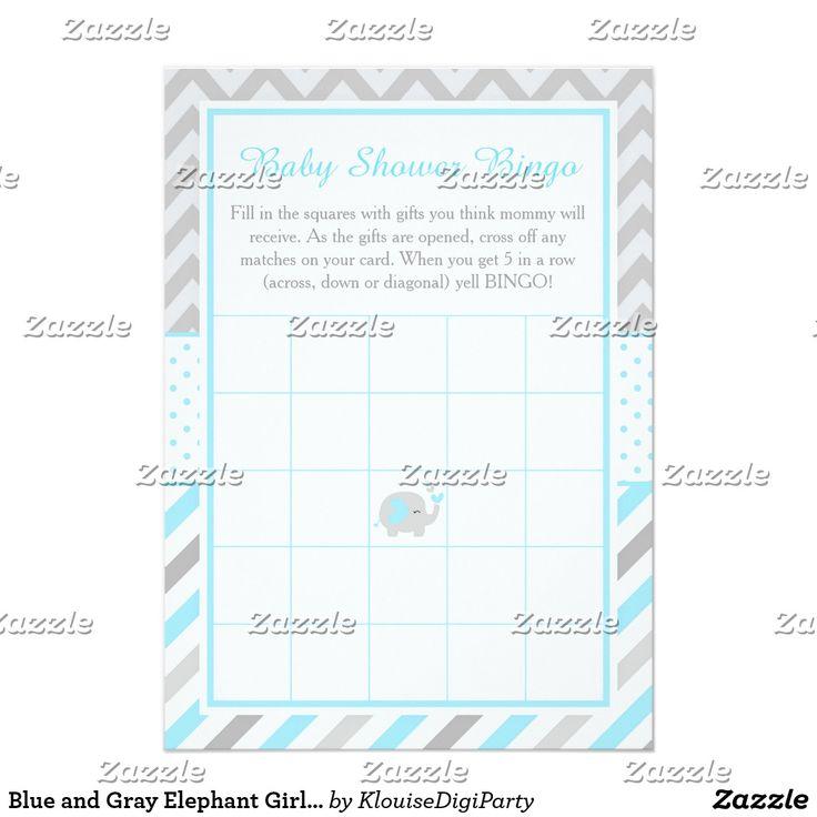 Blue and Gray Elephant Girl Baby Shower Bingo Card
