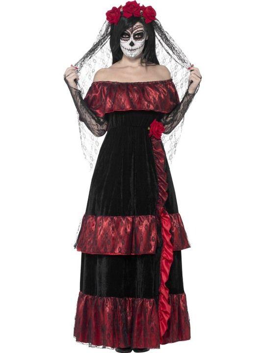 Day of the Dead Zombiebraut Kostüm Damen - . - In diesem Kostüm wirst du an Halloween als Tag der Toten-Braut von den Toten auferstehen