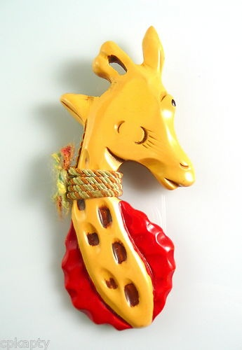 RARE Vintage 1930s 40s Martha Sleeper Whimsical Winking Giraffe Bakelite Pin with painted details and string collar