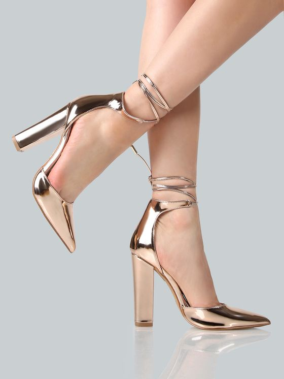 Online shopping for Metallic Point Toe Ankle Wrap Heels ROSE GOLD from a great selection of women's fashion clothing & more at MakeMeChic.COM.