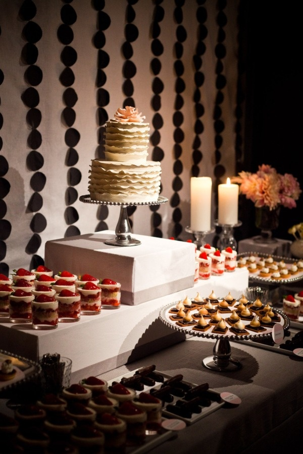 Small and simple wedding cakes with a huge variety of small desserts makes it interesting and exciting!!! So doing this when my day comes!
