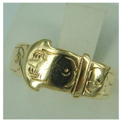 Antique Victorian Belt Ring, 8 mm Wide Ring, 9K Solid Gold Band, Size K Ring, English Hallmarks, Stack Ring, Wedding Band, Size 5 Ring