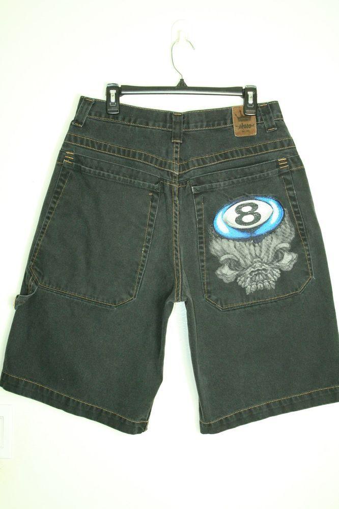 0b4ec78671 JNCO Jeans shorts vintage 90's black big pocket 8 ball skull tag size 34 # JNCO #BaggyHipHop