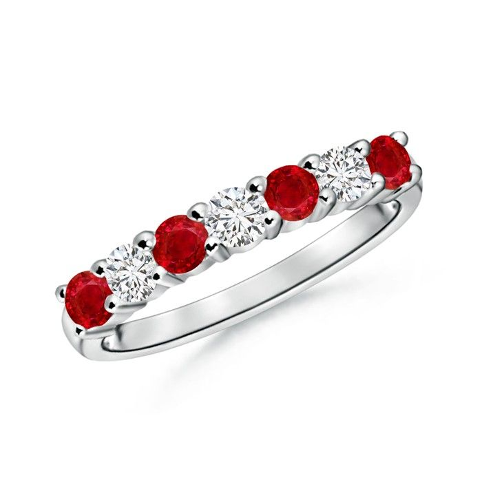 Angara Round 2 Stone Ruby Ring with Bar Setting rZWtX
