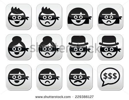 Thief man and woman faces in masks icons set by RedKoala #robbery #law