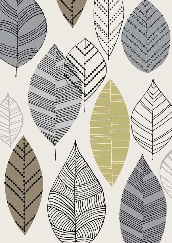 Autumn Leaves Natural limited edition giclee print di EloiseRenouf