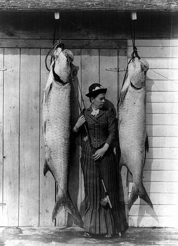 Vintage photo of woman with fish i for Girls gone fishing