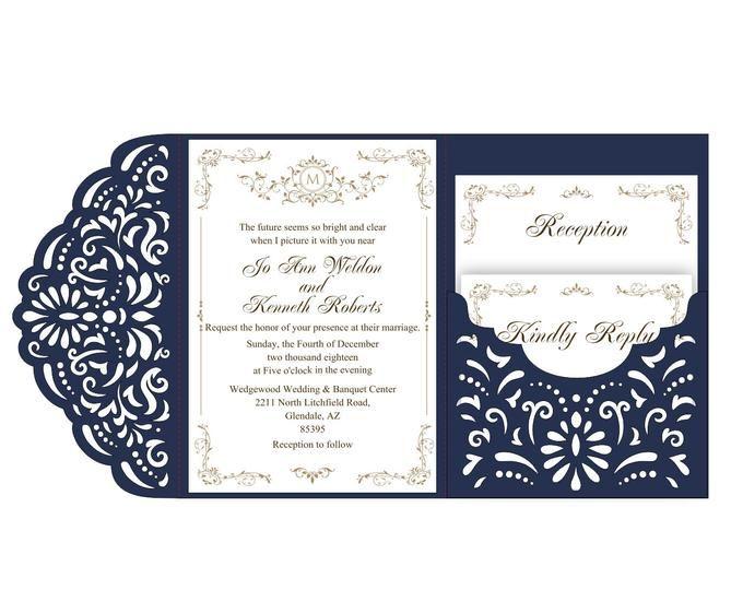 Wedding Invitation Set Of Tri Fold Lace Pocket Envelope 5x7 Etsy Wedding Invitations Cricut Wedding Invitations Invitations
