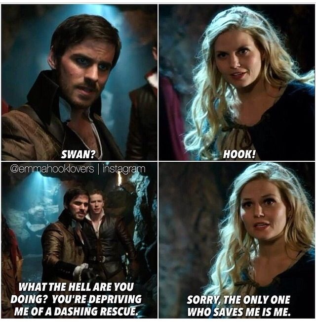 Emma Swan is the most independent women in the entire show and Hook thinks he needs to rescue her. How sweet