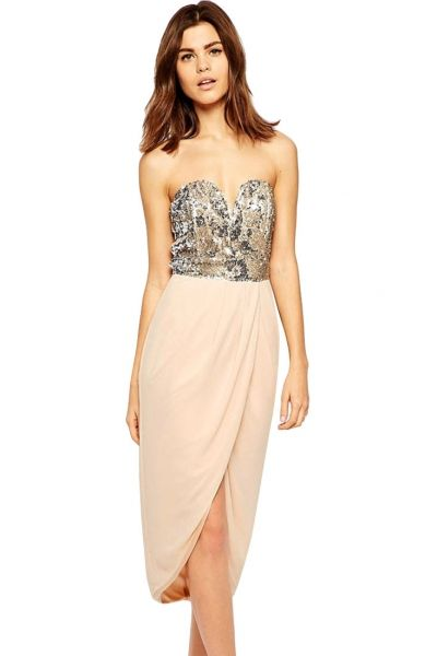 #Sexy Bandeau Midi Evening #Dress with Sequin Bodice - OASAP.com