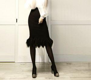 White Black Slim Fish Tail Zigzag Ruffled Hem Party Midi skirt  sz S/M