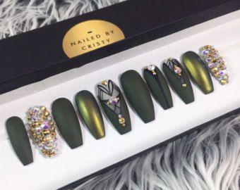 Egiziano ispirato stampa sulle unghie | Qualsiasi forma | Cristalli Swarovski | Dipinti a mano Nail Art | Chiodi falsi | Unghie finte | Bianco oro nero dell'alzavola di NailedByCristy