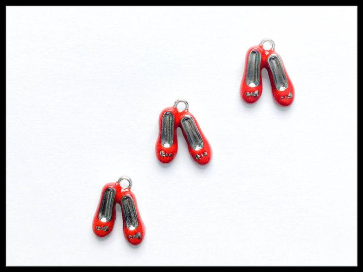 10x Red Silver Enamel Ballet Shoe Slipper Charm / Red Flat Shoe Charm / Red Pump Shoe Charm Jewellery Making Supplies /19x14mm/ Ballerina 1 by AppleJadeStudio on Etsy