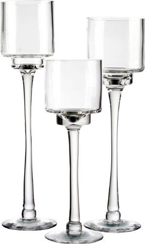 Candle Holder Set of 3. Glass Pedestal Candle Holders in 3 Different Heights…