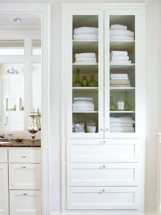 Finding Bathroom Storage For A Small Difficult Bathroom. Not all of us are lucky enough to have room for armoires and built-ins in our bathrooms. Or are we? And idea about how to grab some much needed storage space when there isn't any to be found. image via BHG #smallbathroom #bathroom