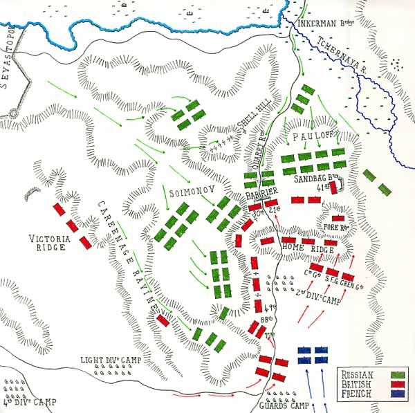 Map of the Battle of Inkerman 1954 by John Fawkes