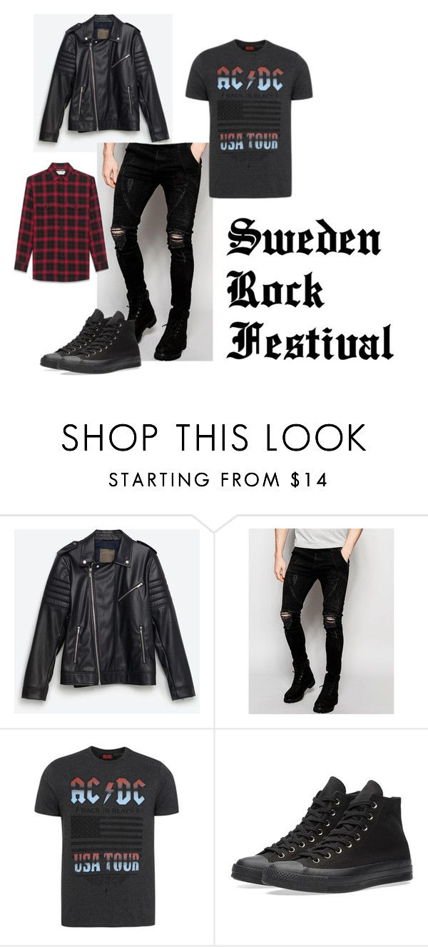 """Sweden Rock Festival (Boys)"" by gcdonuts on Polyvore featuring Zara, Sik Silk, George, Converse, Yves Saint Laurent, men's fashion and menswear"