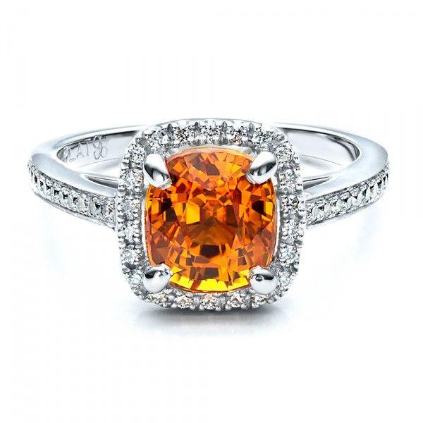 Custom Diamond and Orange Sapphire Engagement Ring